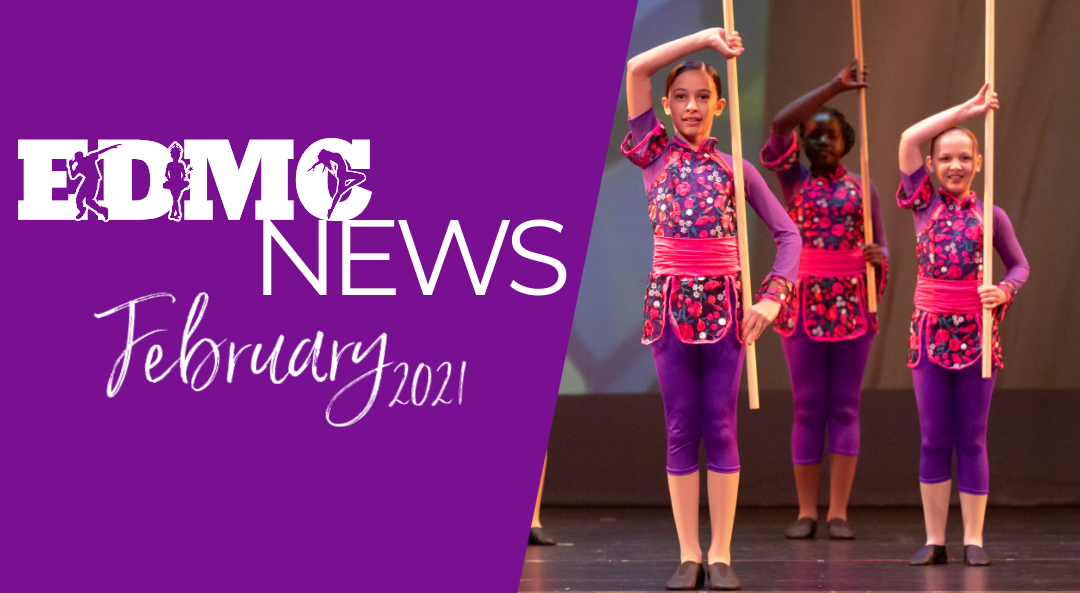 February Monthly Newsletter for Expressions Dance and Movement Center in Santee, CA.